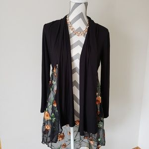 Sweaters - Floral mesh duster